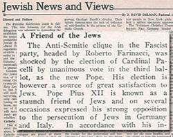 Uma imagem de um artigo do Jewish News and Views de 1939