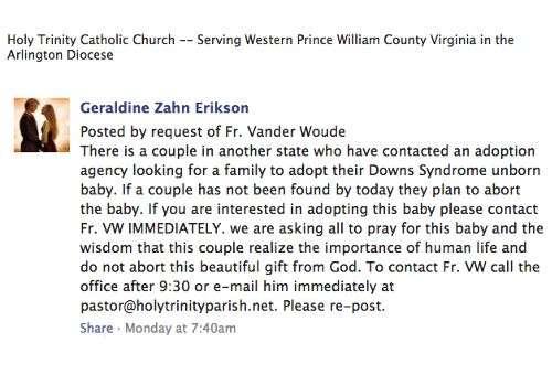 O pedido publicado no Facebook para salvar o bebê