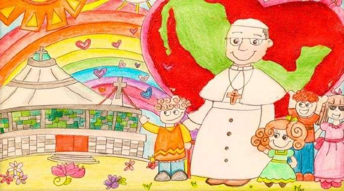 Inauguram Exposicao Com Desenhos Que Criancas Presentearam O Papa